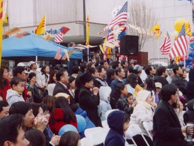 {Big crowd for the festival in downtown San Jose}