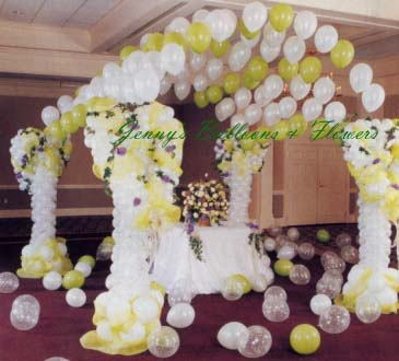 {Canopy for Wedding with Lime and Pearl White Balloons}